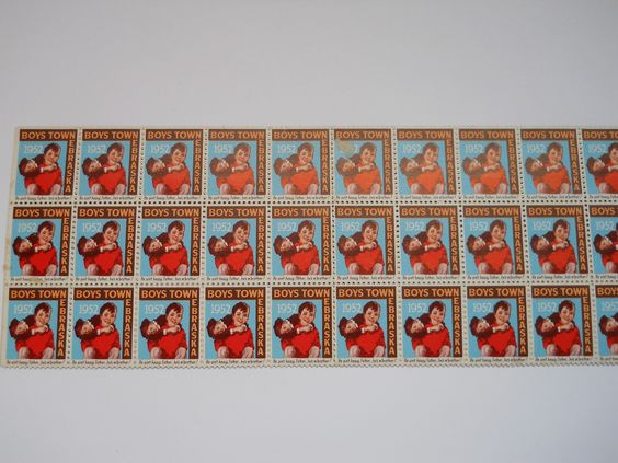 Father Flanagan's Boys Home. Boys Town, Nebraska  1952 Annual Seal Stamp