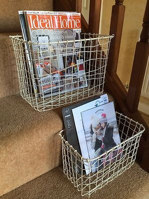 #Cream wire basket magazine post stairs #storage crate #vintage hamper 2 sizes,  View more on the LINK: http://www.zeppy.io/product/gb/2/111825623362/