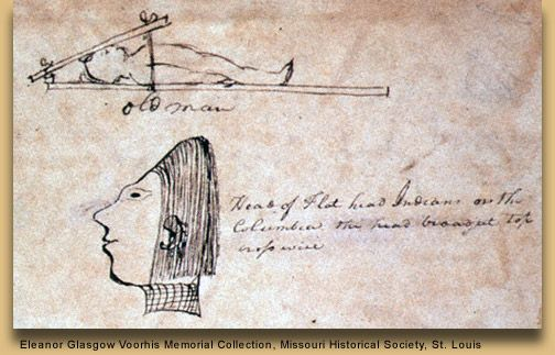 Drawing of Flathead cradleboard made on the Lewis and Clark expedition.