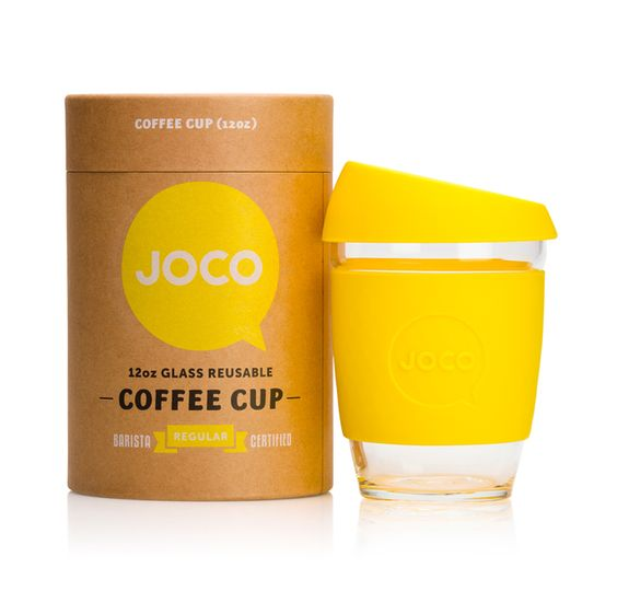 JOCO – 12oz glass reusable coffee cup. Colour: LEMON. Strengthened borosilicate glass, thermal silicone sleeve and ergonomicly designed silicone lid. Microwave safe, BPA free and Barista certified. JOCO, the 'cups that care' • Buy from over 200 independent designers at thebigdesignmarket.com – Royal Exhibition Building, Melbourne