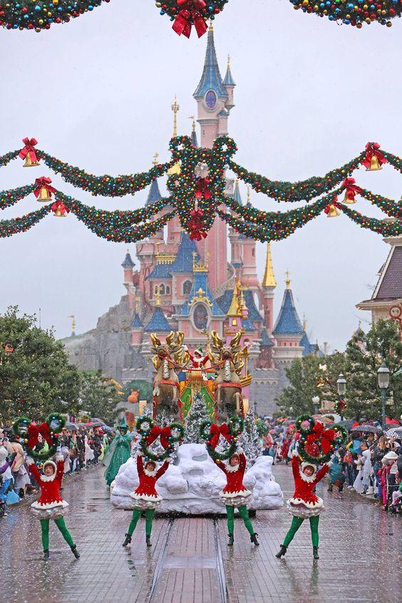 Disney Christmas Parade down Main Street U.S.A