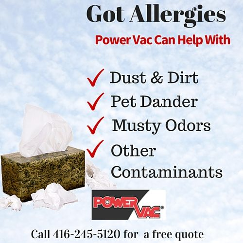 Duct Cleaning Can Help With Allergies While it is true that air duct cleaning alone does not cure health conditions like Asthma, allergies and other respiratory related  conditions, vent cleaning does however, play an important role in prevention and treatment. By cleaning your HVAC system you will remove allergens like dust and mold from the duct work as well as residue from cigarette smoke. This can make it more comfortable for the allergy stuffier.  www.powervac.ca/power-vac-toronto-gta