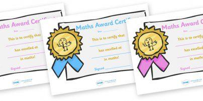 Maths Award Certificates