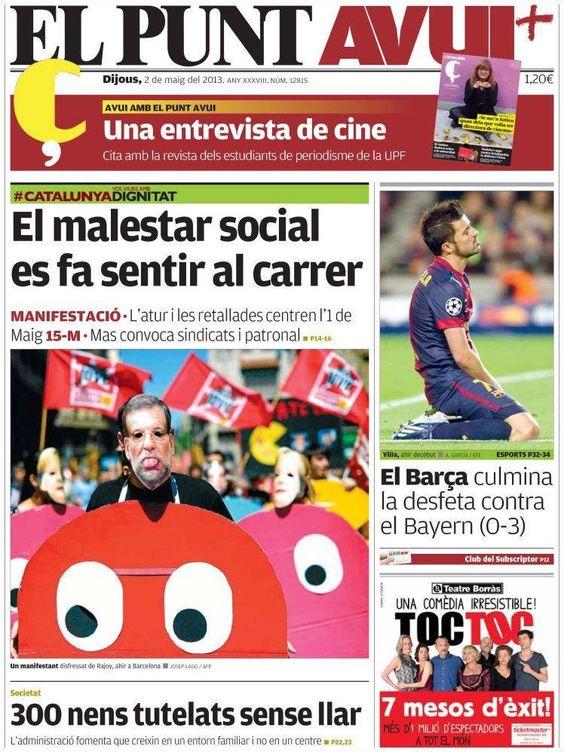 Los Titulares y Portadas de Noticias Destacadas Españolas del 2 de Mayo de 2013 del Diario El Punt AVUI ¿Que le parecio esta Portada de este Diario Español?