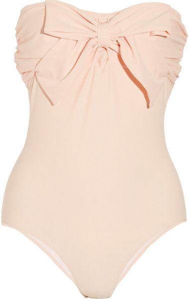 MIU MIU  Bow-Embellished Bandeau Swimsuit - Lyst