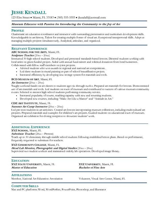 Elementary Art Teacher Resume - http\/\/topresumeinfo\/elementary - sample art teacher resume