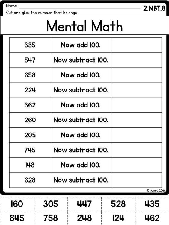 Printables Math Intervention Worksheets 2nd grade nbt number and operations in base ten mental maths math 100 more less 2 8 worksheet