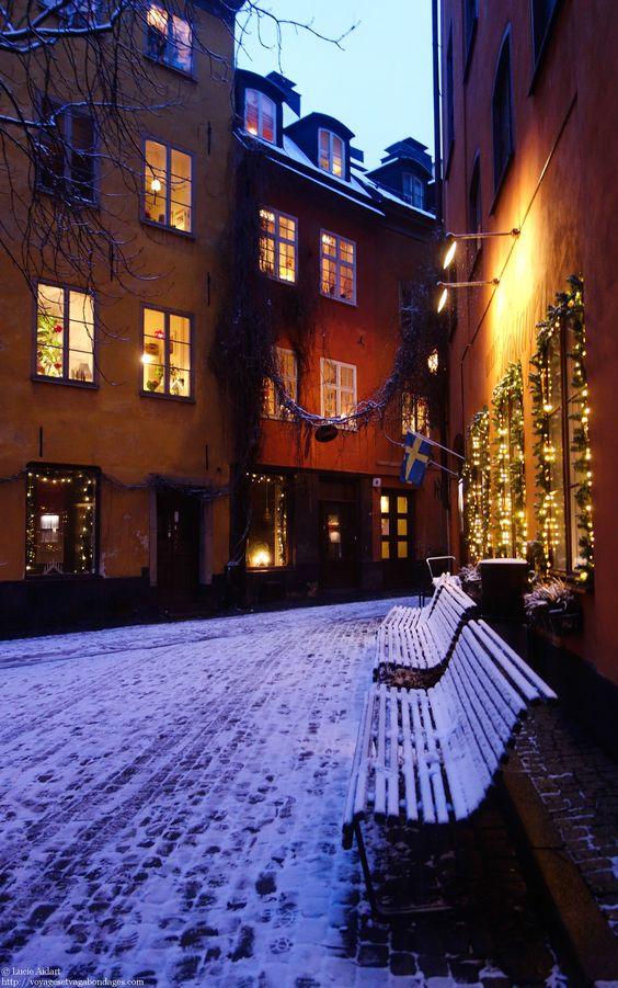 Gamla Stan, le quartier historique de Stockholm est absolument magique en hiver, surtout avec les lumières de Noël