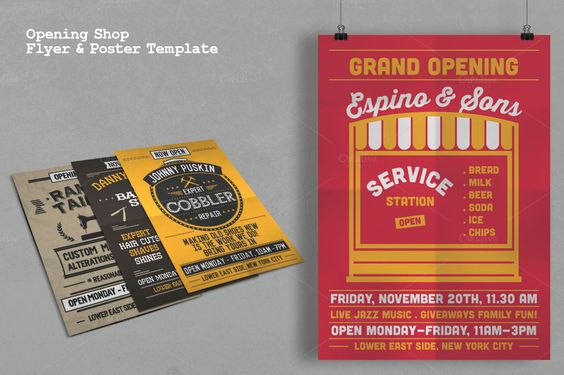 Opening Shop Flyer \ Poster Template - retro flyer templates