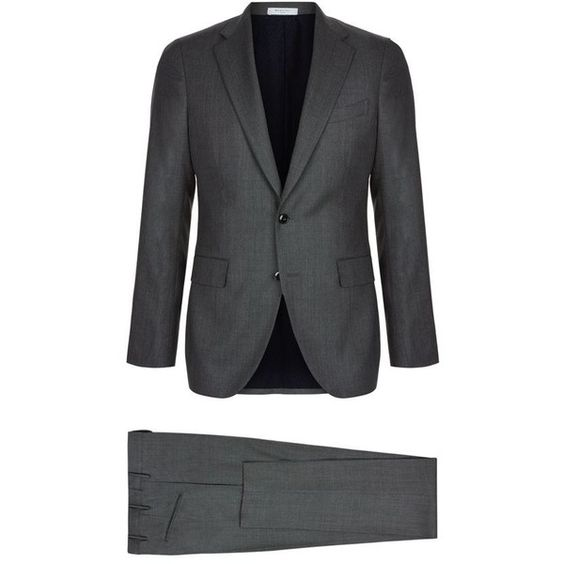 Boglioli Mini Dot Wool Suit ($1,280) ❤ liked on Polyvore featuring men's fashion, men's clothing, men's suits, mens gray suit, mens grey suits, mens tailored suits and mens wool suits