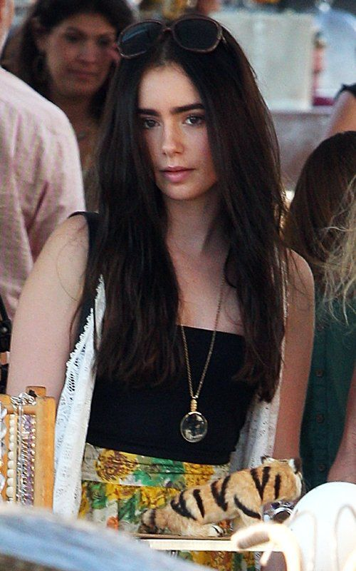 Lily Collins - Dark long hair is a good look for her..
