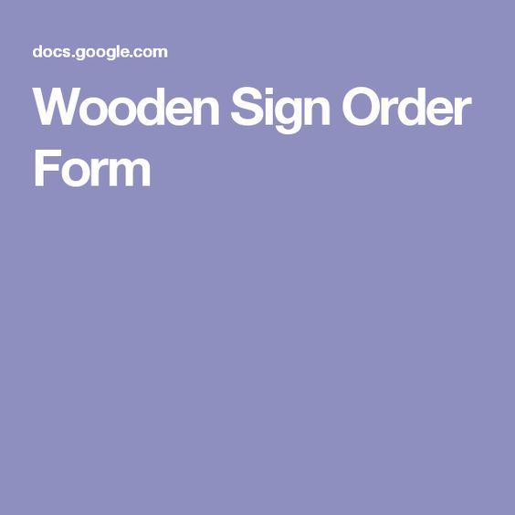 Wooden Sign Order Form