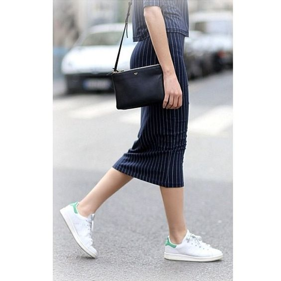 Love this pinstriped skirt, and the way it's styled