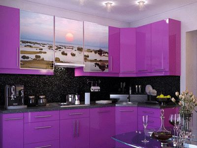 Purple kitchen cabinets modern kitchen color schemes for Bright red kitchen cabinets