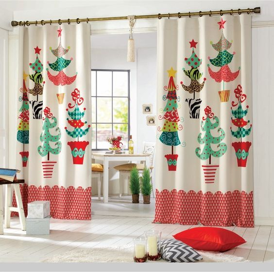 cute christmas theme kitchen curtains | Kitchen Curtains ...