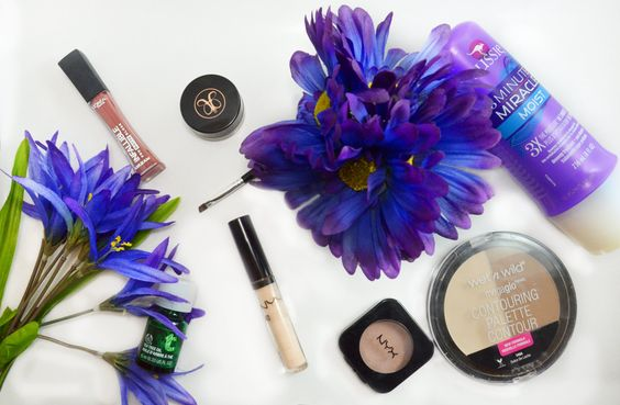 L'Oreal Infallible Pro-matte gloss,  March Beauty Favorites 2015 Anastasia Dipbrow, Aussie 3- minute miracle, The Body Shop tea tree oil, NYX HD concealer, NYX taupe blush, Wet n Wild contouring palette in dulce de leche.