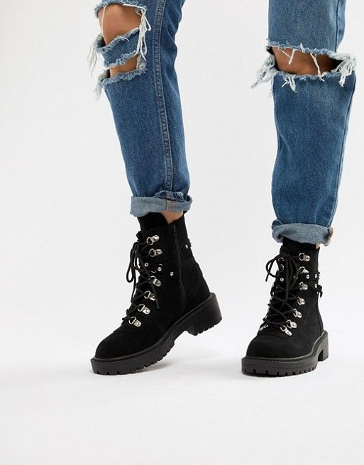 RAID Perrie Black Chunky Hiker Boots