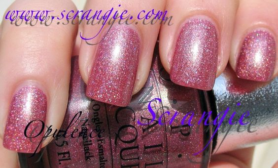 OPI: Opulence. Very flattering mauve-pink with holographic shimmer to keep it from being plain. It's a pink I would wear!