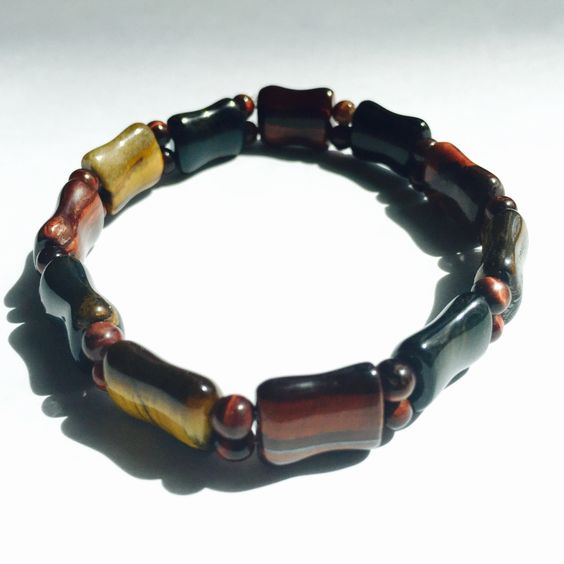 Unique Men's Bracelet, Tri-color Tiger Eye Bracelet For Men, Elastic Band Bracelet by AdornMixJewelry on Etsy