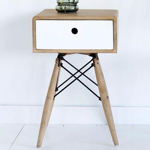 Chevet en bois et m tal 1 tiroir blanc manille hanjel decoclico erwan le - Table de chevet bois et metal ...