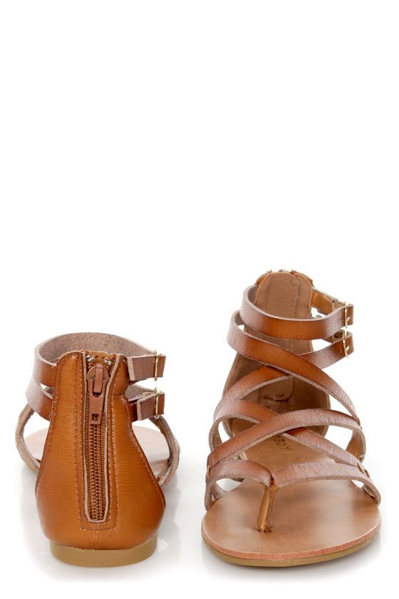 Bamboo Laguna 25 Chestnut Tan Strappy Gladiator Sandals | Fit ...