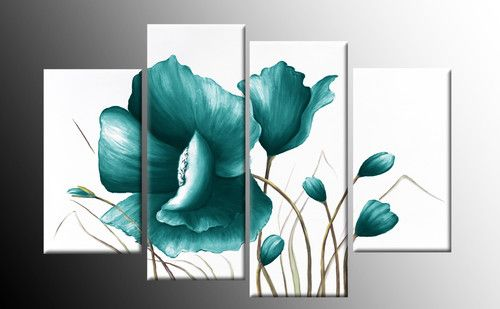 """LARGE TEAL CANVAS PICTURES FLORAL FLOWER PAINTING WALL ART SPLIT MULTI 40"""""""