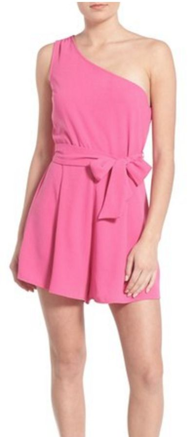 Pink One-Shoulder Romper
