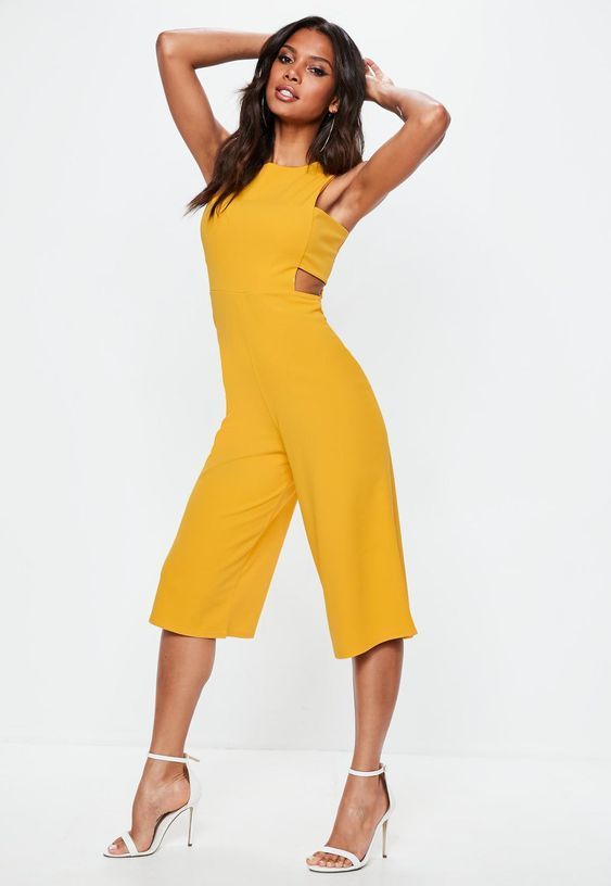 Missguided - Yellow Tab Side Culotte Jumpsuit