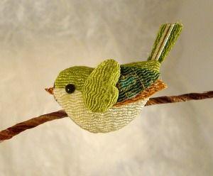 japanese nightingale brooch of Japanese fabric