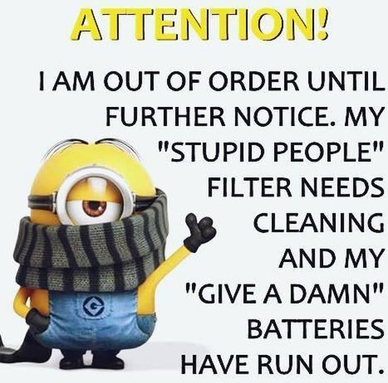 Attention I Am Out Of Order Until Further Notice Funny Quotes Minion Minions Minion Quotes Minion Quotes And S Funny Minion Quotes Minions Funny Minion Jokes