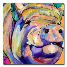 Add a cute, whimisical touch to any wall with this gallery-wrapped contemporary canvas art.  Potbelly by Pat Saunders features an image of a potbellied pig in bright, beautiful colors, making it a great choice for those who love animals.