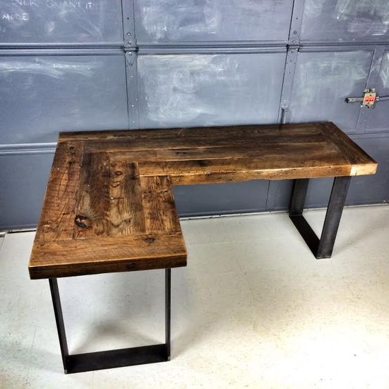 reclaimed wood l shaped desk stuff to buy pinterest stains industrial metal and industrial. Black Bedroom Furniture Sets. Home Design Ideas