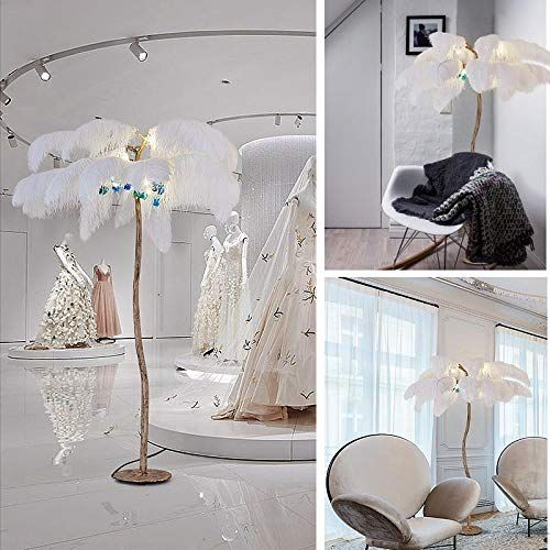 Amazon Com Hlidpu Floor Lamps White Feather Lampshade Standing