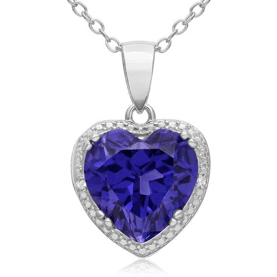 3 Carat Created Tanzanite and Diamond Heart Necklace in Sterling... ($37) ❤ liked on Polyvore featuring jewelry, necklaces, blue, diamond necklaces, blue necklace, diamond jewelry set, diamond heart necklace and sterling silver diamond necklace