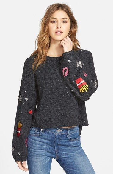 Wildfox 'French Fries & Kisses' Embellished Sweater (Nordstrom Exclusive) available at #Nordstrom: