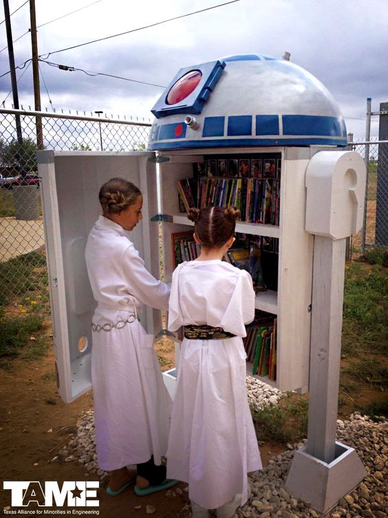 This epic, 6' tall Little Free Library is a replica of Star Wars character R2D2 and was engineered by a group of 6th graders in Odessa, Texas. Appropriately, it was unveiled on 5/4...May The 4th Be With You!