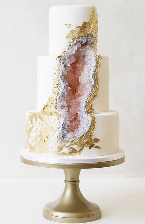 The geode cake shot to fame last year when this three-tier, edible amethyst masterpiece by bakery-maestros Intricate Icings hit social media.: