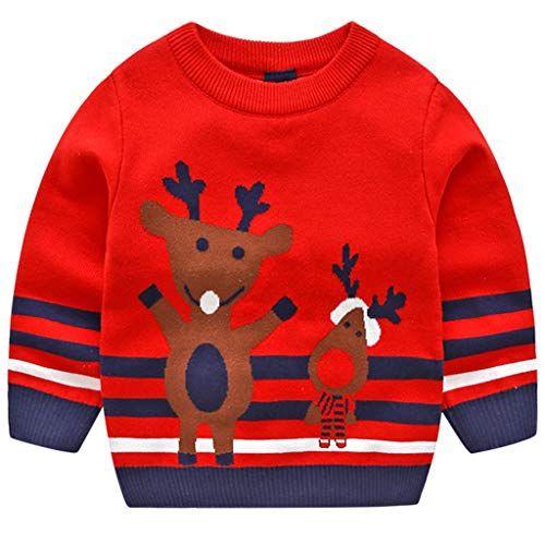 Pull Enfant Noel JiAmy Enfant Noël Pull Sweat shirt Tricoté Bébé Hiver Chandail