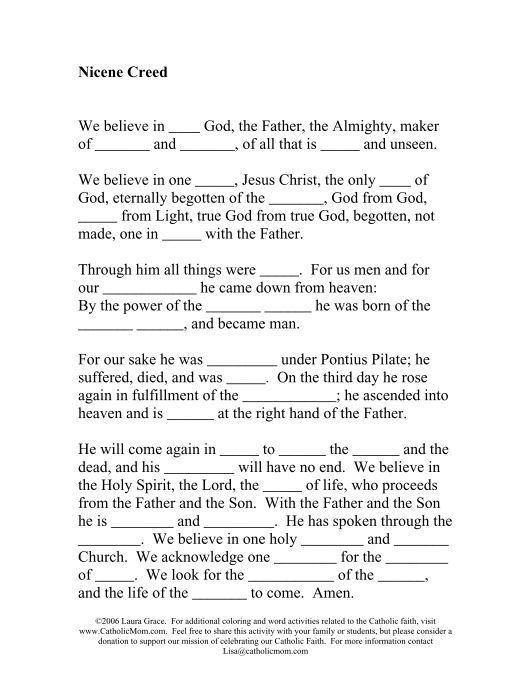 Nicene Creed Worksheet Catholic Mom Nicene Creed Apostles Creed Catholic Mom