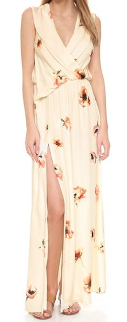 pretty wrap front floral maxi dress