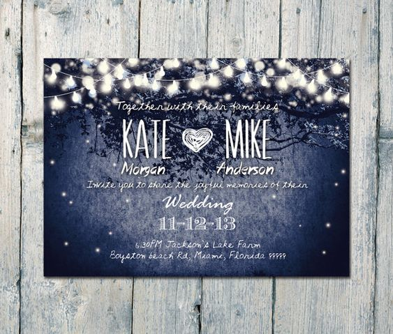 Digital - Printable Files - Navy - Romantic Garden and Night Light Wedding Invitation Card Set - Wedding Stationery - ID210N on Etsy, £15.03