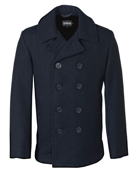 Schott slim fitted pea coat in Navy