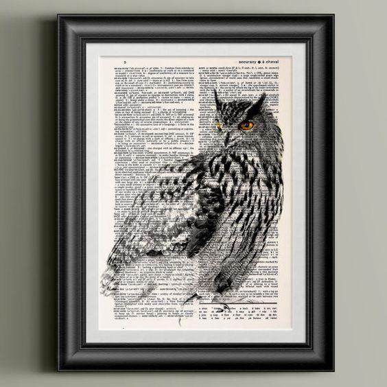 Eule-Dekor / Bird Kunstdruck / Poster Wörterbuch von SofiaPrintsArt