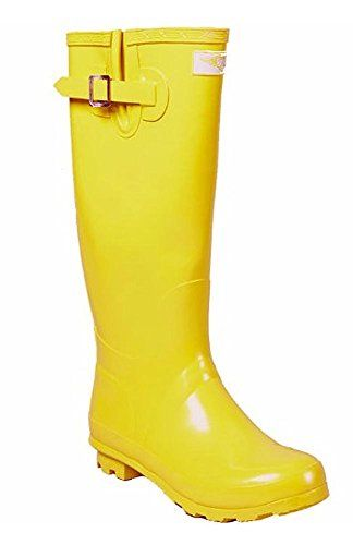 Women Rubber Rain Boots - Yellow Gold - Size 5 Forever Young http
