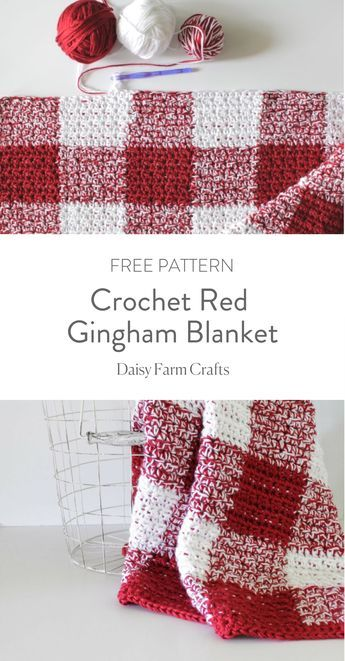 Crochet Red Gingham Blanket - Free Pattern