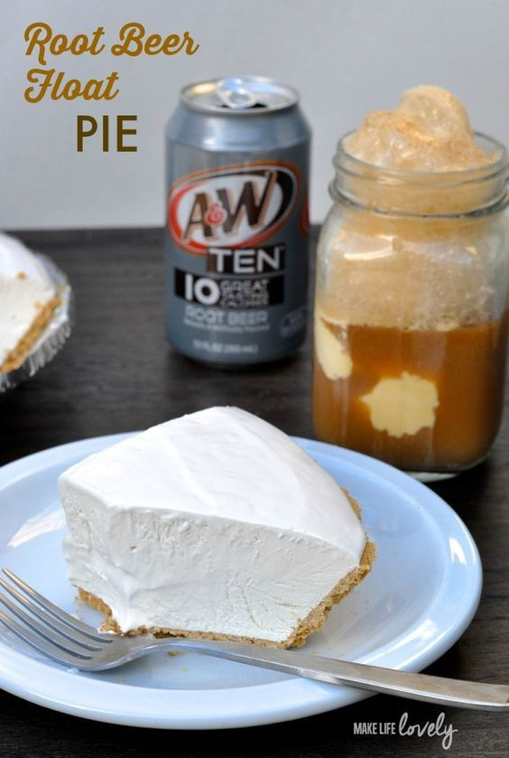 Root beer float pie recipe! Cold and refreshing just like a root beer float.