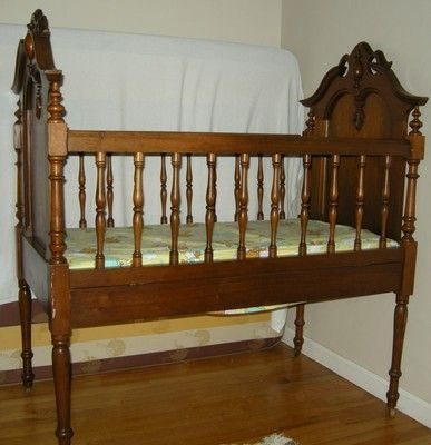 Antique Victorian baby crib walnut frame child bed with