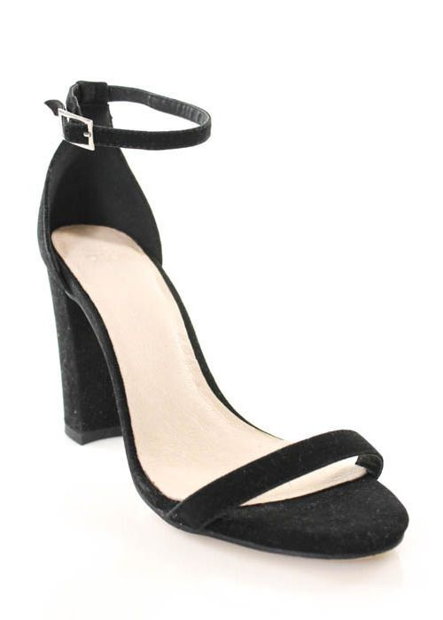 ASOS Black Suede Open Toe Ankle Strap Heels Sz UK 7 #ASOS ...