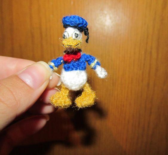 Donald Duck Amigurumi Pattern : Miniature Amigurumi donald duck, handmade donald duck ...