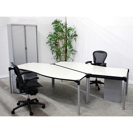 VS gebrauchte Büromöbel Schreibtisch AXIS 360* grauweiss inkl. Rollcontainer Setangebot bei Resale-International.de